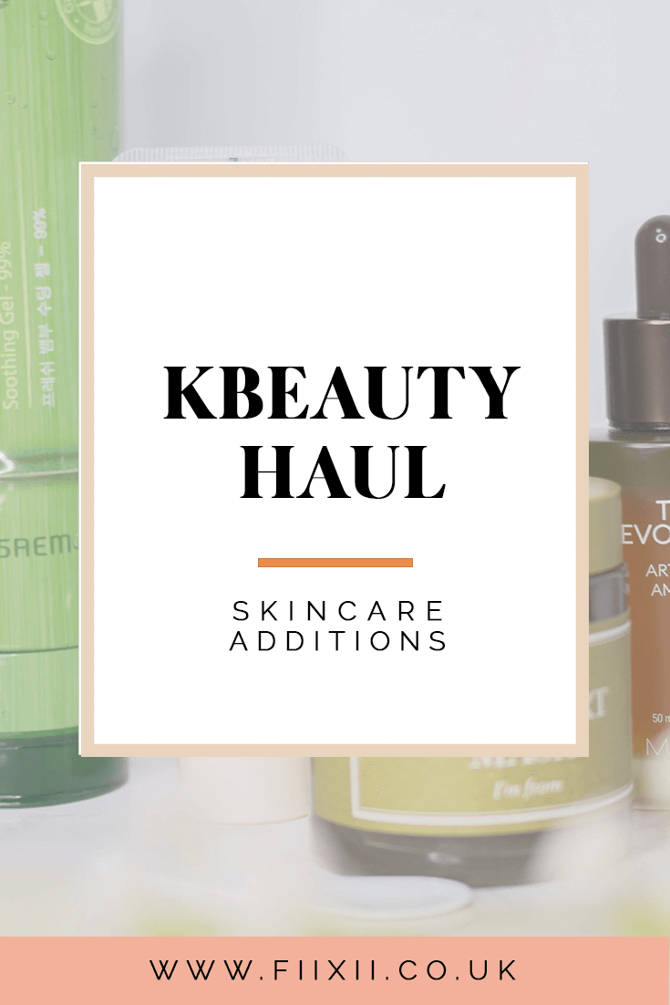 a picture of a white box with 'Korean beauty haul' skincare additions over a pale photo of the products featured in this post